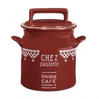 Pot avec couvercle rouge CHEZ PAULETTE Comptoir de Famille
