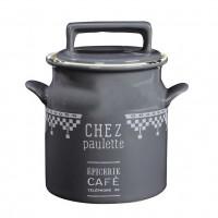 Pot avec couvercle gris CHEZ PAULETTE Comptoir de Famille