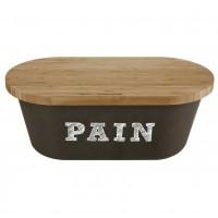 Boîte à Pain noire avec planche bambou Comptoir de Famille