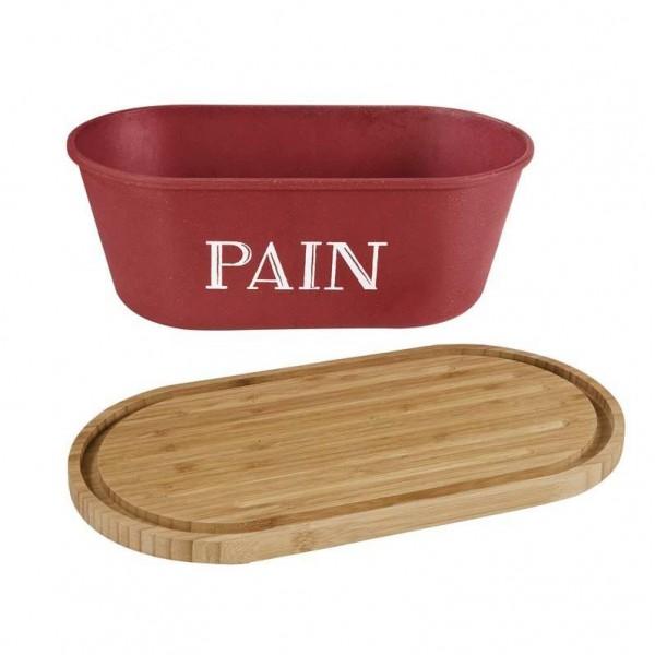 Bo te pain rouge avec planche bambou comptoir de famille - Huche a pain rouge ...