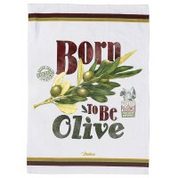 Torchon BORN TO BE OLIVE Natives déco rétro vintage