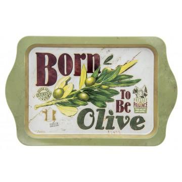 Petit plateau en métal BORN TO BE OLIVE Natives déco rétro vintage