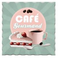 Dessous de plat CAFÉ GOURMAND rose turquoise ambiance bar américain vintage