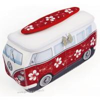 Trousse de toilette vw combi Volkswagen fleuri rouge Brisa rétro vintage collection