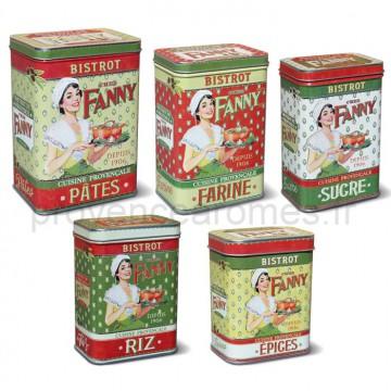 """Set de 5 Boîtes """"Chez Fanny"""" Natives déco rétro vintage"""