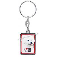 Porte-clés chien BICHON FRISÉ en métal