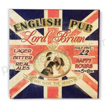 Serviettes en papier ENGLISH PUB Natives déco rétro vintage