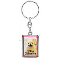 Porte-clés chien CHIHUAHUA à poil long en métal