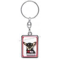 Porte-clés chien CHIHUAHUA noir et blanc en métal