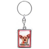 Porte-clés chien CHIHUAHUA marron chocolat en métal