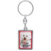 Porte-clés chien BICHON MALTAIS en métal