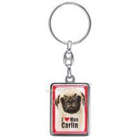 Porte-clés chien CARLIN en métal