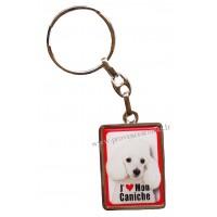 Porte-clés chien CANICHE BLANC en métal