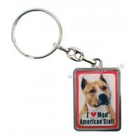 Porte-clés chien AMÉRICAN STAFF en métal