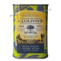 Huile d'olive vierge extra origine France A L'Olivier Bidon 250 ml