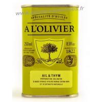 Huile d'olive à l'ail et au thym A L'Olivier Bidon 250 ml
