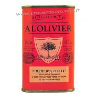Huile d'olive au Piments d'Espelette A L'Olivier Bidon 250 ml