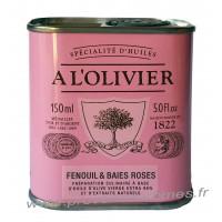 Huile d'olive au Fenouil et baies rose A L'Olivier Bidon 150 ml