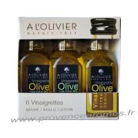 Coffret de 6 Vinaigrettes à l'huile d'olive et vinaigre balsamique, Nature, Basilic et Citron A L'Olivier Bouteille 20 ml