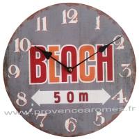 Horloge BEACH 50m déco rétro vintage
