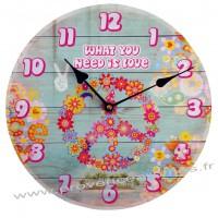 Horloge PEACE LOVE déco rétro vintage
