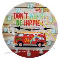 Horloge VAN DON'T WORRY BE HIPPIE déco rétro vintage