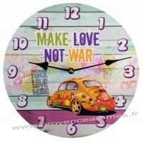 Horloge COCCINELLE MAKE LOVE DON'T WAR déco rétro vintage