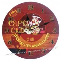 Horloge CAFÉ OLÉ déco rétro