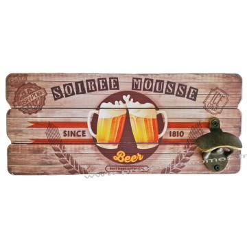 Décapsuleur mural bière SOIRÉE MOUSSE déco rétro vintage