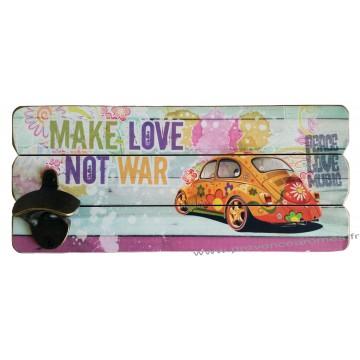 Décapsuleur mural COCCINELLE MAKE LOVE DON'T WAR déco rétro vintage