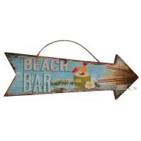 Panneau Flèche en bois BEACH BAR déco rétro vintage