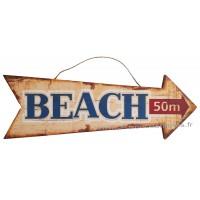 Panneau Flèche en bois BEACH 50m déco rétro vintage