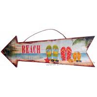 Panneau Flèche en bois BEACH déco rétro vintage