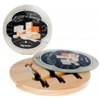 Plateau à fromage en bois et verre 3 couteaux MAISON DU FROMAGE Affinage de Tradition