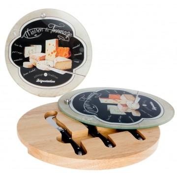 plateau fromage en bois et verre 3 couteaux maison du fromage affinage de tradition provence. Black Bedroom Furniture Sets. Home Design Ideas