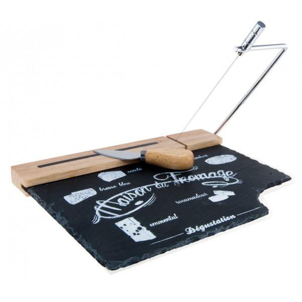 Plateau fromage en ardoise et bois avec couteau et lyre for Affinage fromage maison