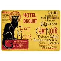 Set de table TOURNÉE DU CHAT NOIR HOTEL DROUOT déco rétro vintage publicitaire