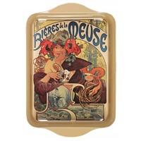 Petit plateau en métal Bières de la Meuse déco publicité rétro vintage