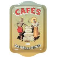 Petit plateau en métal CAFÉS DU COMPTOIR DES COLONIES déco publicité rétro vintage