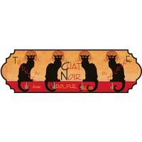Accroche Torchons métal 4 crochets TOURNÉE DU CHAT NOIR déco affiche rétro vintage