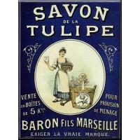 Magnet plaque SAVON LA TULIPE déco publicité rétro vintage