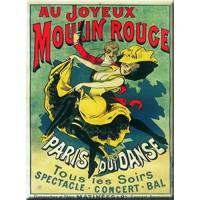 Magnet plaque AU JOYEUX MOULIN ROUGE déco affiche rétro vintage