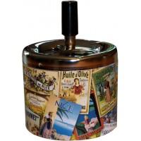 Cendrier poussoir Patchwork Provence déco publicité rétro vintage