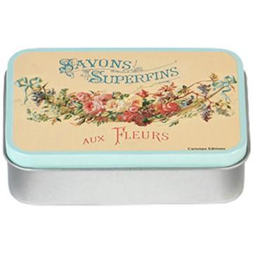 Boîte à savon SAVONS SUPERFINS AUX FLEURS déco publicité rétro vintage