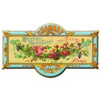Plaque de porte métal Chambre SAVONS SUPERFINS AUX FLEURS déco publicité rétro vintage