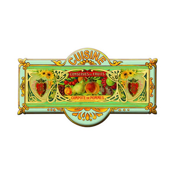 Plaque de porte m tal cuisine conserves de fruits d co for Plaque deco cuisine retro
