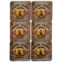 Dessous de verre bière SOIRÉE MOUSSE Sous Verre déco rétro vintage
