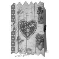 Boîte à clés en bois 6 crochets Coeur et Anges