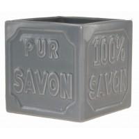 Pot cube céramique Gris PUR 100% SAVON