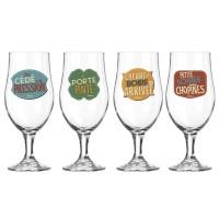 Coffret de 4 verres à bière L'HEURE DE BOIRE Natives déco rétro vintage
